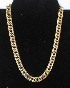 【送料無料】ジュエリー・アクセサリー ヴィンテージモネゴールデンフラットチェーンリンクネックレスvintage signe monet dore epais plat chaine lien 18 collier