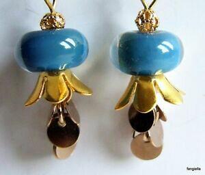 【送料無料】ジュエリー・アクセサリー ガラスイヤリングブローチboucles doreilles bleu et dore en verre artisanal file au chalumeau par une art