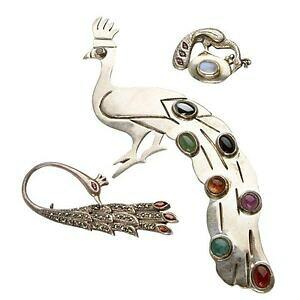 【送料無料】ジュエリー・アクセサリー ワンダフルスリースターリングピーコックシルバージェムブローチペンダントmerveilleux trois 3 argent sterling paon et gemmes broches amp; pendentif