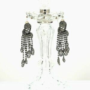 【送料無料】ジュエリー・アクセサリー イヤリングクリップオンシルバーデステテタッセルフリンジクリスタルグレーboucles doreilles clip on argente tete de mort tassel fringe cristal gris as1