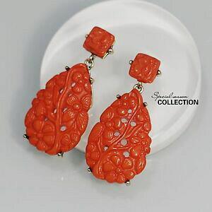 【送料無料】ジュエリー・アクセサリー イヤリングクリップオンゴールデンオレンジドロップエスニックレジンレトロboucles doreilles clip on dore goutte orange ethnique resine floral retro yw6