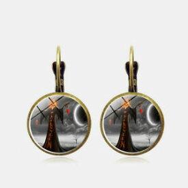 【送料無料】ジュエリー・アクセサリー ヴィンテージハロウィーンイヤリングブロンズラウンドガラスジュエリーvintage halloween witch earring bronze round glass ear drop women jewelry gifts