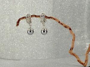 【送料無料】ジュエリー・アクセサリー シルバーイヤリングクリップオンデミサークルグレーパールboucles doreilles argente clip on demi cercle ancien gravure perle gris j13