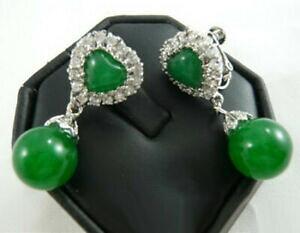 【送料無料】ジュエリー・アクセサリー ファッションエメラルドグリーンジェイドホワイトゴールドメッキクリスタルハートクリップオンイヤリング fashion emerald green jade white gold plated crystal