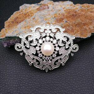 【送料無料】ジュエリー・アクセサリー ホワイトパールパヴェブローチge082912 10mm white pearl cz pave brooch