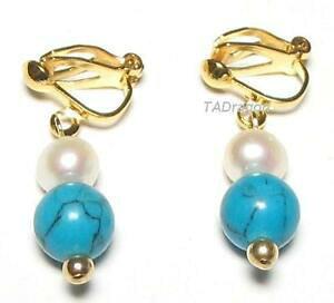 【送料無料】ジュエリー・アクセサリー ホワイトパールターコイズクリップオンイヤリングgenuine white pearl amp; turquoise 18k ygp clip on earrings