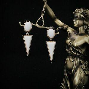 【送料無料】ジュエリー・アクセサリー アリングスクリップオンゴールデンジェロームトリックアールデコオーバルトライアングルホワイトboucles doreilles clip on dore gerometrique art deco ovale triangl