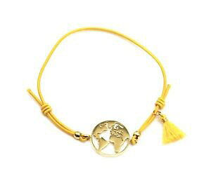 【送料無料】ジュエリー・アクセサリー マスタードブレスレットチャームグローブゴールデンスチールポンポンbc3536f bracelet elastique moutarde avec charm globe acier dore et pompon