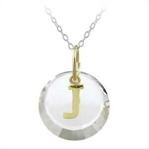 【送料無料】ジュエリー・アクセサリー シルバーシェードスワロフスキーネックレス925 argent deux nuances j initiale collier avec swarovski elements, 457cm