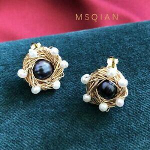 【送料無料】ジュエリー・アクセサリー イヤリングクリップオンパールブラックカルチャークラフトメッキゴールドboucles doreilles clip on perle culture noir ficele artisanal plaque or msq1