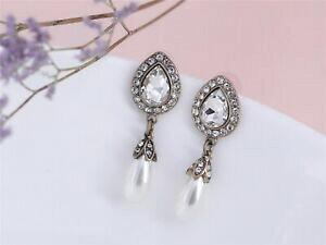 【送料無料】ジュエリー・アクセサリー コスチュームファッションイヤリングクリップオンレトロペンダントペアドロップパールブライダルクラスcostume fashion earrings clip on retro pendant pear drop