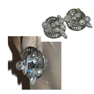 【送料無料】ジュエリー・アクセサリー タラタイヤリングクリップシルバーメッキジュエルクリスタルチャームtaratata grosses boucles doreilles clips plaque argent breloques cristal bijou