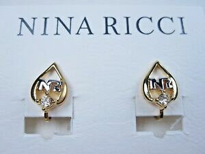 【送料無料】ジュエリー・アクセサリー ニーナリッチゴールドメッキクリップオンイヤリングスワロフスキークリスタルロゴnina ricci gold plated clipon earrings with swarovski crystals amp; nr logo 0767
