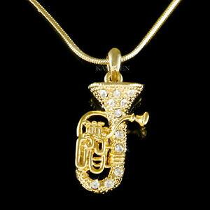 【送料無料】ジュエリー・アクセサリー スワロフスキーコーネユーフォーユーフォバリトンネックレスチューバユーフォニアムtuba euphonium avec cristal swarovski corne eupho euph baryton 18 collier