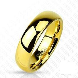 【送料無料】ジュエリー・アクセサリー チタンタングステンゴールドリングハイグロスtitanio tungsteno anello oro 6mm larga ad alta lucido 47 15 66 21