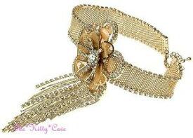 【送料無料】ジュエリー・アクセサリー ゴールドデコギャツビーレースメッシュフラワーバーレスクチョーカーネックレススワロフスキークリスタルoro deco gatsby lace mesh fiore burlesque girocollo collana con cristalli