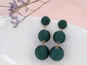 【送料無料】ジュエリー・アクセサリー クリップオンゴールドイヤリングコットングリーンクラフトorecchini clip on dorato tre perle filo cotone verde artigianale x20