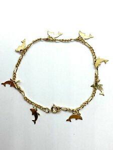 【送料無料】ジュエリー・アクセサリー ヴィンテージゴールドメッキドルフィンブレスレットチャームvintage 9ct gold plated delfino bracciale con charm 75