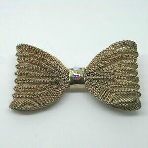 【送料無料】ジュエリー・アクセサリー フィリグリーリボンラインストーンボウタイブローチヴィンテージピンバッジfiligree ribbon and rhinestone bow tie brooch vintage pin badge