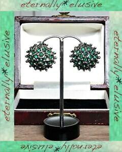 【送料無料】ジュエリー・アクセサリー ヴィンテージエメラルドグリーンカラーガラスシルバープレートポットメタルクラスタクリップオンイヤリングvintage verde smeraldo incollare vetro silver plate