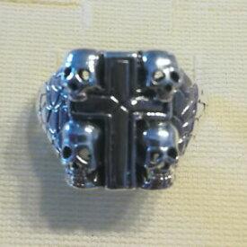 【送料無料】ジュエリー・アクセサリー テクスチャソリッドスターリングシルバークロススカルゴシックリングパーフェクトtrama grossa solid 925 sterling silver cross amp; teschio anello gotico regalo perfe