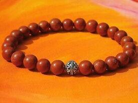 【送料無料】ジュエリー・アクセサリー メンズレディースシルバービーズブレスレットレッドジャスパーmens ladies 8mm handmade gemstone and silver beaded bracelet red jasper