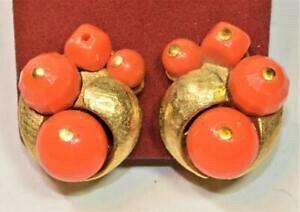 【送料無料】ジュエリー・アクセサリー ヴィンテージサインアートカラーゴールドカラーサーモンビーズクリップオンイヤリングvintage 50s firmato art color oro salmone colorato perline clipon orecchini
