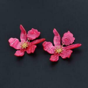 【送料無料】ジュエリー・アクセサリー イヤリングクリップオンゴールデンラージフラワーレジンレトロピンクorecchini clip on dorato grandi fiore resina rosa retro j15