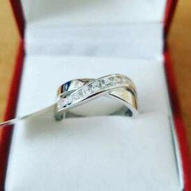 【送料無料】ジュエリー・アクセサリー スターリングシルバークロスオーバーリング925 sterling silver cross over cz anello