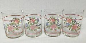 【送料無料】キッチン用品・食器・調理器具・陶器 ヴィンテージリビープファルツグラフティーローズジュースグラスFour Vintage Libbey Pfaltzgraff Tea Rose Juice Glasses