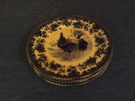【送料無料】キッチン用品・食器・調理器具・陶器 ウィリアムジェームズファームヤードブルーホワイトルースターディナープレートのセットSet Of Four William James Farm Yard Blue White Rooster Dinner Plates