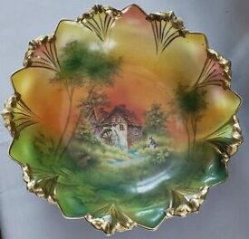 【送料無料】キッチン用品・食器・調理器具・陶器 アンティークプロイセン手塗装カラフルな水車シーンボウルゴールドギルトリムAntique RS Prussia Hand Painted Colorful Water Mill Scene Bowl Gold Gilt Rim