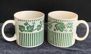 【送料無料】キッチン用品・食器・調理器具・陶器 セット三五アイビーチャームグリーンコーヒーマグカップ手作りSet Of 2 Sango Ivy Charm Green Coffee Mugs Cups 6134 Hand Crafted