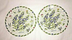 【送料無料】キッチン用品・食器・調理器具・陶器 ケント陶器ローズマリーサラダプレートハーブガーデンのセット、レアKent Pottery Rosemary Salad Plates 7 1/4 Set of 2 Herb Garden, Rare