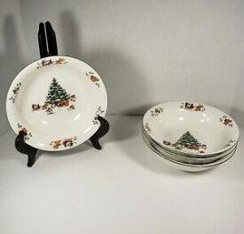 【送料無料】キッチン用品・食器・調理器具・陶器 ヴィンテージ魔法のクリスマス中国シリアルボウルセットVintage Magical Christmas China Set of 4 Cereal Bowls