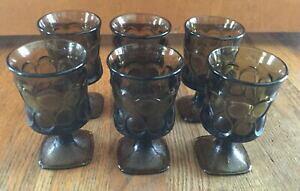 【送料無料】キッチン用品・食器・調理器具・陶器 ヴィンテージノリテイクスポットライトブラウングラスワインジュースゴブレットグラス6 Vintage Noritake SPOTLIGHT Brown Glass 4.75 Wine Juice Goblets