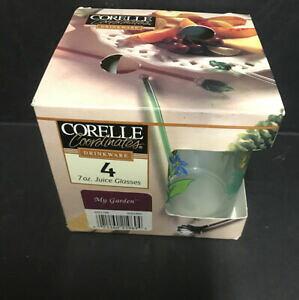 【送料無料】キッチン用品・食器・調理器具・陶器 コーニングコレル?マイガーデン?ジュースのセットオンスグラスボックスの新しいCorning / Corelle ~ My Garden ~ Set Of 4 Juice 7 Oz. Glasses **New In Box*