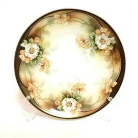【送料無料】キッチン用品・食器・調理器具・陶器 プロイセン手塗装花板ホワイトピーチローズゴールドリムR. S. Prussia Hand Painted Flower Plate White & Peach Roses Gold Rim