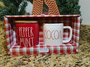 【送料無料】キッチン用品・食器・調理器具・陶器 レイダンレッドペパーミントセラーココアマグセットレア新しいクリスマスRae Dunn Red Peppermint Cellar  Cocoa Mug Set - Rare VHTF - New Christmas 2020