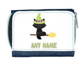 【送料無料】猫 ネコ キャット バッグ 小物 カスタムハロウィンレディースパーソナライズcat on broom custom personalised any name halloween ladies purse blue
