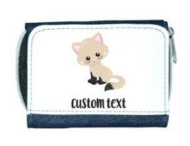 【送料無料】猫 ネコ キャット バッグ 小物 カスタムテキストレディースcat 7 personalised custom with any text cute statement ladies purse blue
