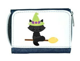 【送料無料】猫 ネコ キャット バッグ 小物 カスタムパーソナライズレディースcat on broom custom personalised character halloween ladies purse blue