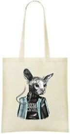 【送料無料】ジョブカスタムプリントトートバッグスタイリッシュsphynx cat i hate my job custom printed tote bag 100 soft cotton amp; stylish