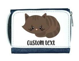 【送料無料】猫 ネコ キャット バッグ 小物 カスタムテキストレディースcat 3 personalised custom with any text cute statement ladies purse blue