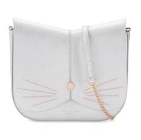 【送料無料】テッドベーカーライトグレーデザインバッグgenuine authentic ted baker light grey felinne leather cat design bag
