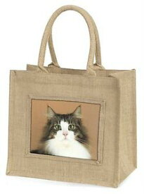 【送料無料】ツナソクリスマスキタノウグイac49blntabby and white cat large natural jute shopping bag christmas gift ide, ac49bln