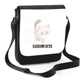 【送料無料】カスタムテキストショルダーバッグcat 6 personalised custom with any text cute statement shoulder bag medium