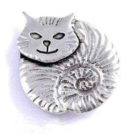 【送料無料】ネコ 猫 ネックレス サンジャスティンピューターブローチ st justin pewter fat cat brooch pb598 made in the uk