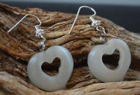 【送料無料】ネコ 猫 ネックレス オパール#ドロップイヤリングlarge heart white opal cats eye 1034; dangle drop earrings
