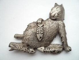 【送料無料】ネコ 猫 ネックレス ビンテージピューター#ブローチピンvintage signed jj 034;silver pewter fat cat eating fish034; broochpin